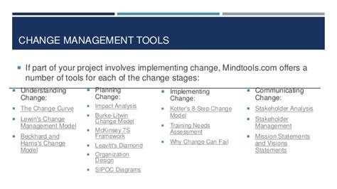 kotter mindtools mind tools for project managers