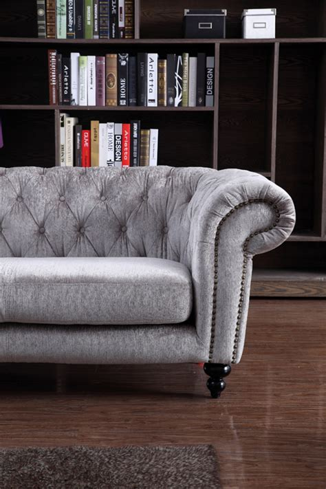 grey leather and fabric sofa divani casa alexandrina grey tufted fabric sofa set