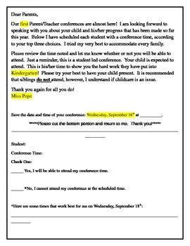 parent teacher conference letters parent teacher conference confirmation letter to parents