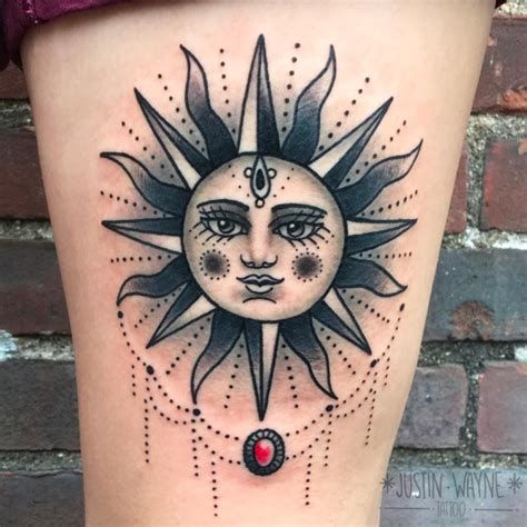 traditional sun tattoo by justin wayne tattoonow