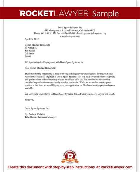 Rejection Letter Of Employment Employment Rejection Letter Template With Sle