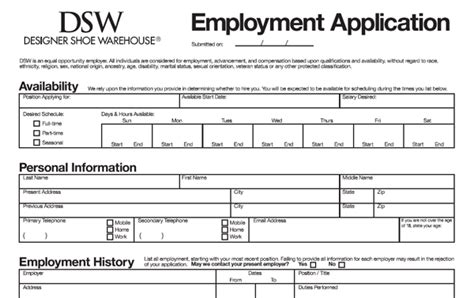 Mba Application Employment History Data Forms by Dsw Application Pdf Print Out