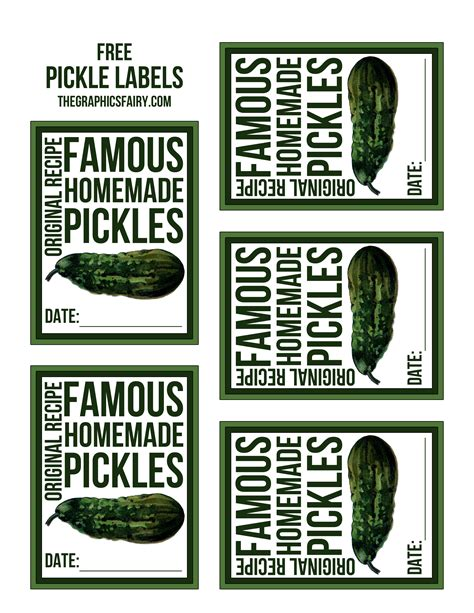 Fairy Garden Art - free pickle canning labels the graphics fairy