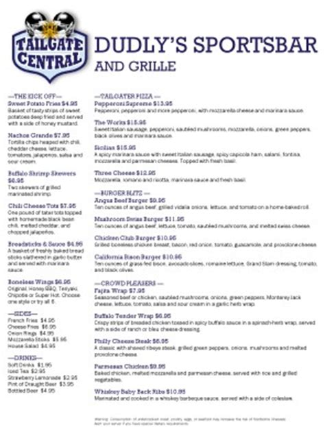 football menu templates football menu sports bar menus
