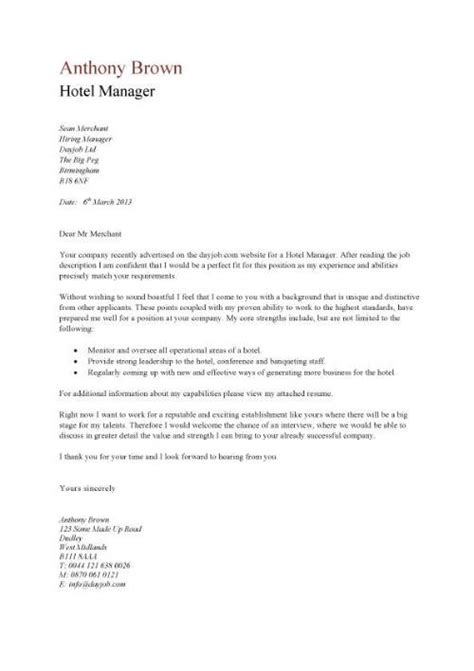 cover letter for employment in a hotel hotel manager cv template description cv exle
