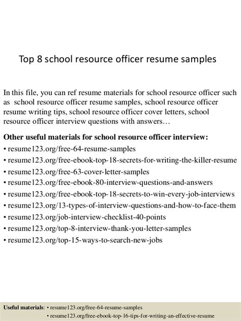 School Resource Officer Sle Resume top 8 school resource officer resume sles