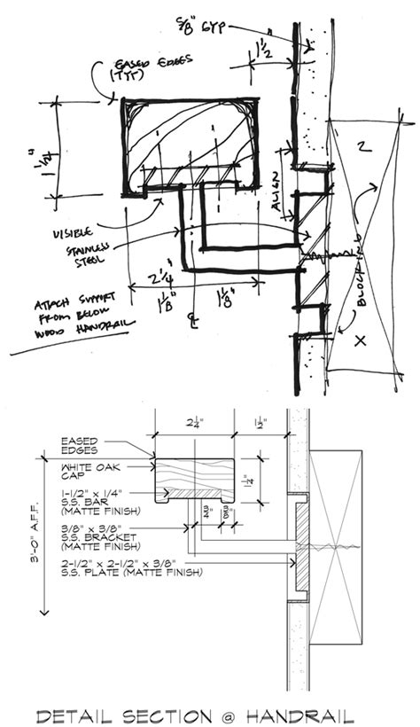 handrail section drawing like an architect life of an architect