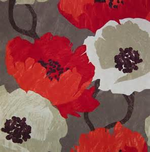 Large Floral Upholstery Fabric Modern Floral Fabric Red Large Scale Floral Print Design