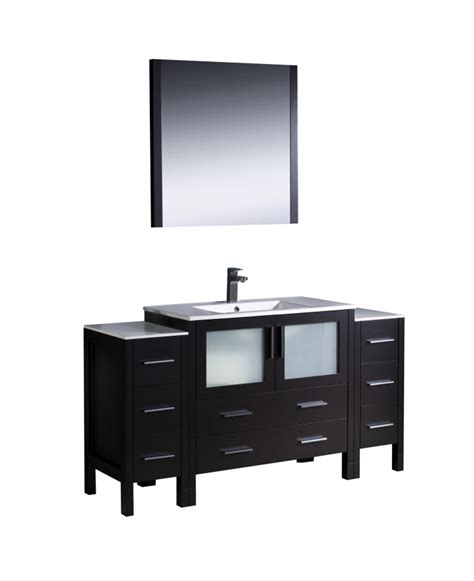 60 inch modern single sink vanity in espresso with ceramic