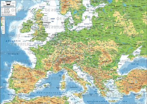 physical map  europe  asia  travel information