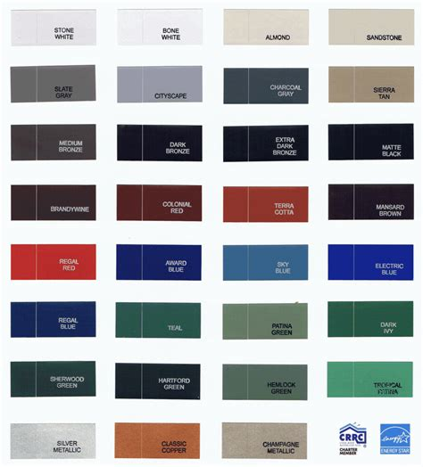 metal roofs color chart