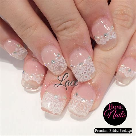 Simple Lace Wedding Nails gallery homenails