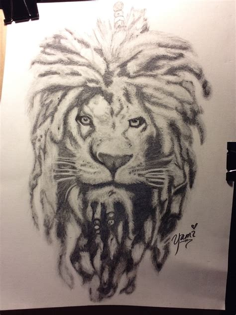 rasta lion tattoo comissioned project with dreads my doodles