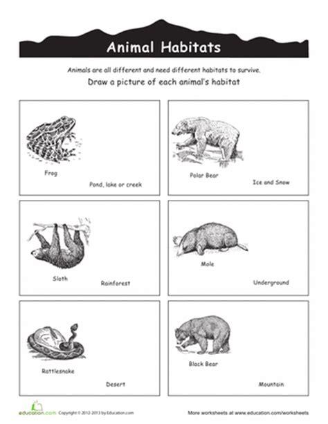 printable animal habitats animal habitat worksheets free worksheets library