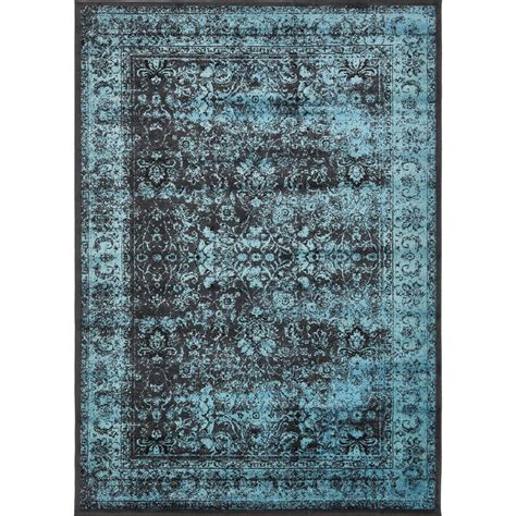 Blue And Black Area Rugs Unique Loom Istanbul Blue And Black 7 Ft X 10 Ft Area Rug 3134646 The Home Depot
