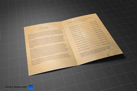 Funeral Program Bi Fold Template Brochure Templates On Creative Market Bi Fold Program Template