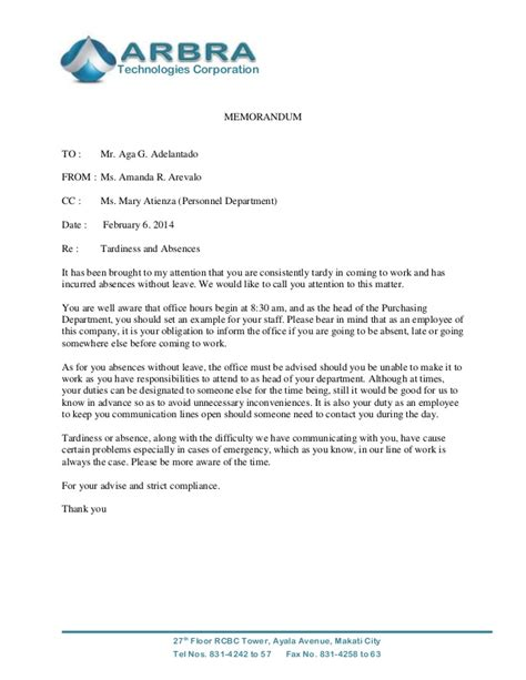 Explanation Letter Of Tardiness Sle Memo For Tardiness Just B Cause