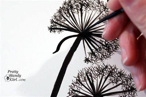 tutorial for painting dandelion wall graphic pretty
