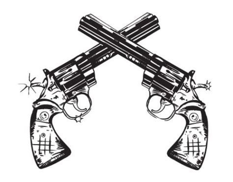 cool paired and crossed revolver guns tattoos