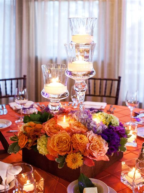 Inspiration Songket Affairs Exquisite Designs Gorgeous Purple And Orange Centerpieces For Weddings