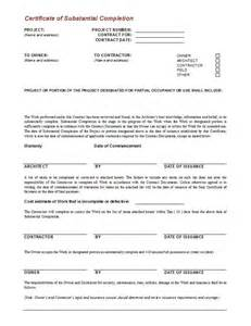 Completion Of Contract Letter Sle Certificate Of Completion Construction Free Printable Documents
