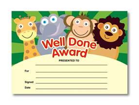 well done award animal certificates