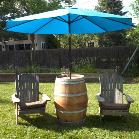 Wine Barrel Patio Table Wine Barrel Patio Table With Umbrella Alpine Wine Design