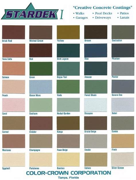 decorative garage floor color charts ta sarasota pinellas pasco