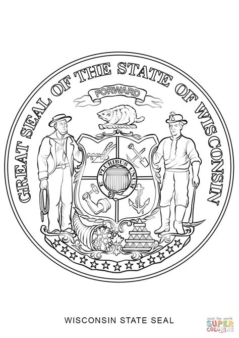 Wisconsin State Seal Coloring Page Free Printable Wisconsin Coloring Pages