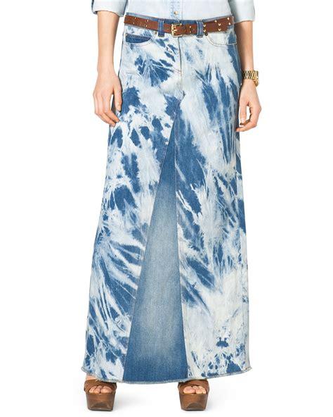 Maxi Denim Lipat 1 michael michael kors tiedye denim maxi skirt in blue indigo lyst