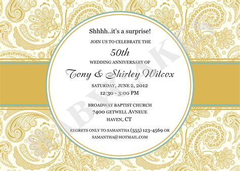 anniversary invitation cards templates free 50th anniversary invitations template best
