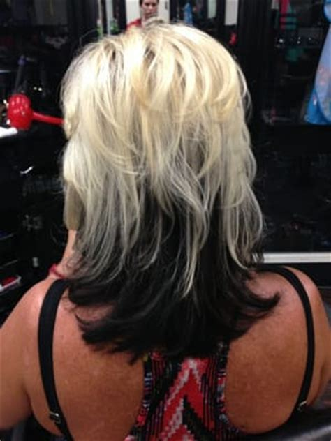 name of hair where the bottom is blonde blonde on top black on bottom yelp