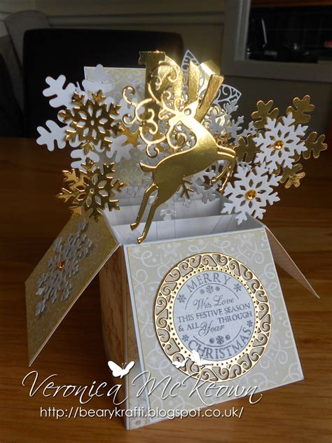 pop up card box template christmas beary krafti pop up box card