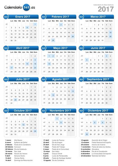 Calendario 2017 Con Dias Festivos Marcados Calendario 2017