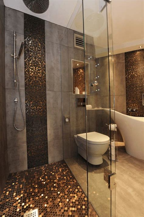 grey mosaic bathroom sparkling gold mosaic floor tiles with grey wall for amazing bathroom decorating ideas