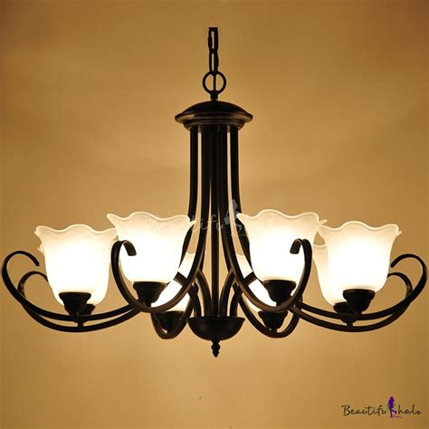 Black Dining Chandelier Wrought Iron 6 Light Morning Dining Room Chandelier