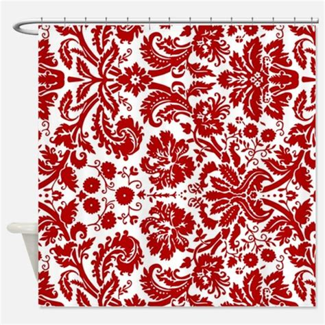red damask curtains red and white damask shower curtains cafepress