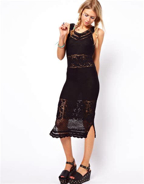 Asos Crochet Strapless Dress lyst asos crochet midi dress with v back and