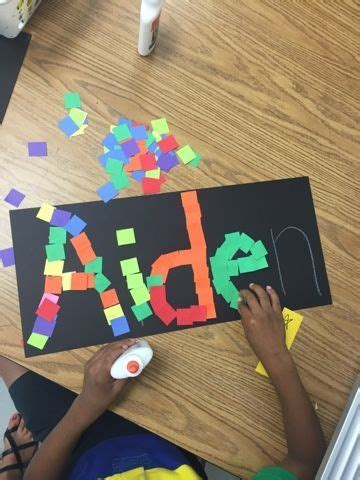 pattern art activities for preschoolers name art what a fun way for kids to practice cutting