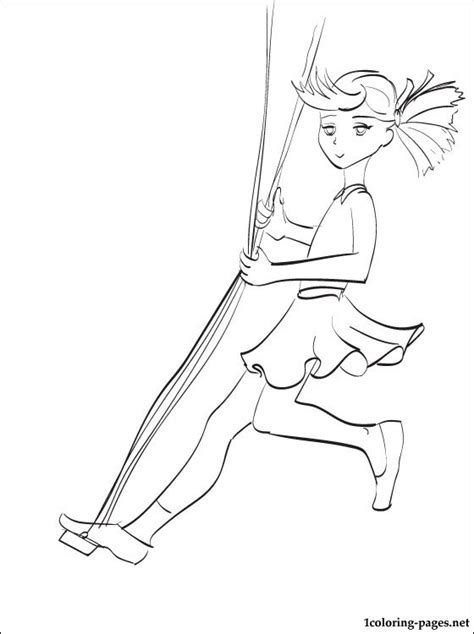 girl   swing coloring page coloring pages