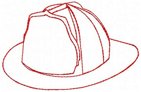 fire hat outline embroidery design instant download