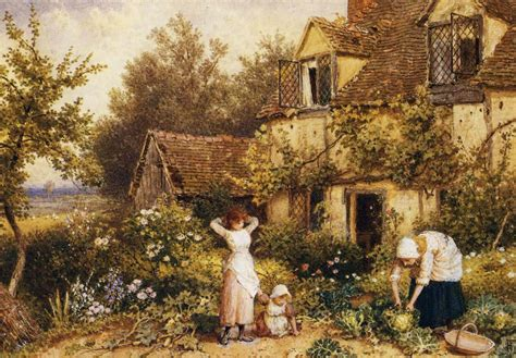 At The Cottage Painting Myles Birket Foster