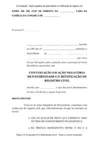 Modelo Contestação - Ação negatória de paternidade c/c