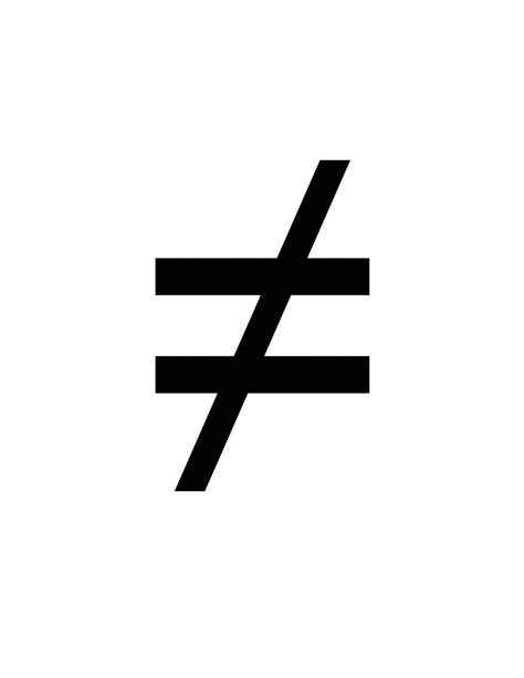 not equal flashcard of a math symbol for not equal clipart etc