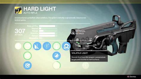 destiny hard light volatile light no shooting out of