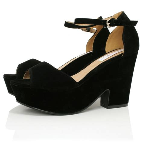 black suede style demi wedge sandals buy black suede