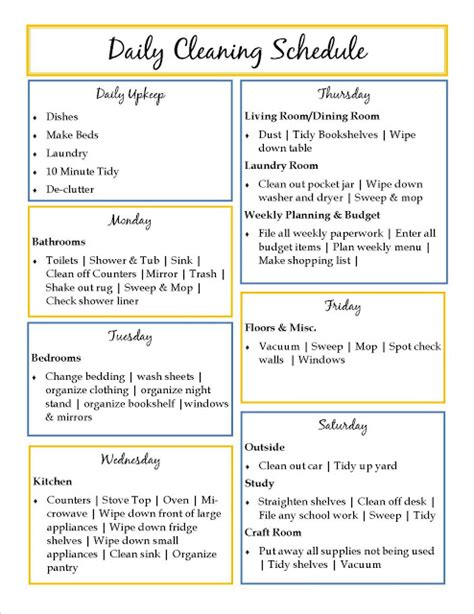 weekly cleaning schedule template house cleaning daily house cleaning templates