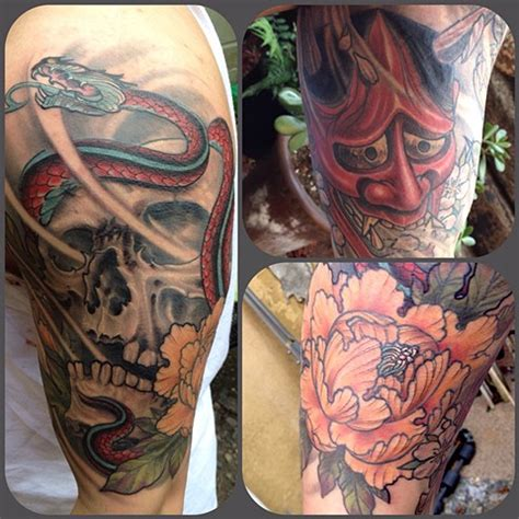 hannya mask and skull tattoo ancient irons northwest pigments llc