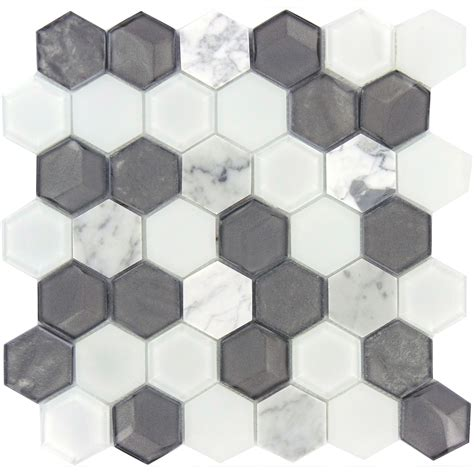 Gray Bathroom Ideas stone and glass hexagon tile white and silver mosaic tiles