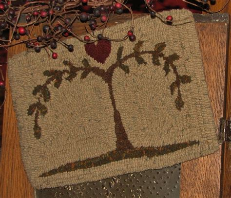 primitive rug hooking primitive hooked rug pattern on monks quot prims series willow tree quot ebay